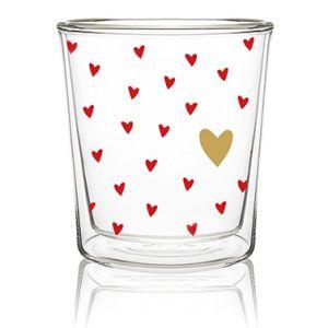 Valentijn dubbelwandig hartjes glas